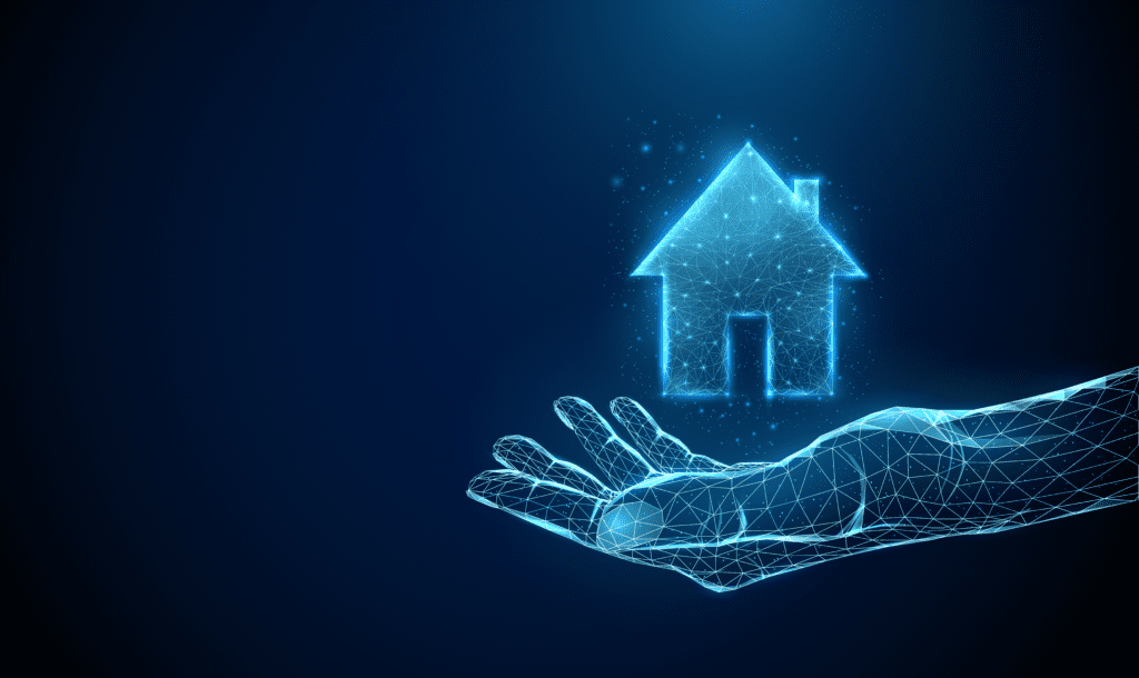 Illustration of a hand displaying a house icon with a blue background.