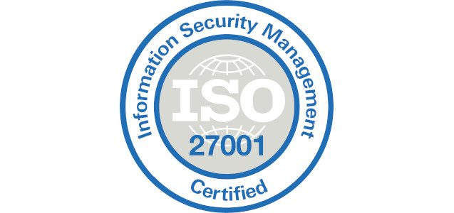 Information Security Management ISO 27001 Certified logo.