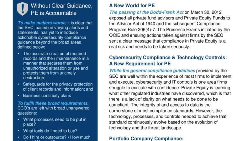 Whitepaper: Cybersecurity Compliance Guidance for Private Equity.