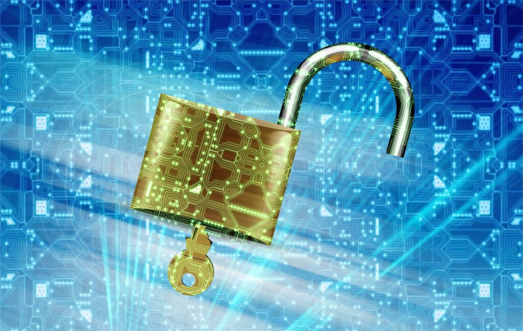 Illustration of a gold padlock and key with blue background.