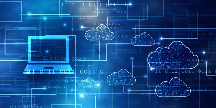 Illustration of laptop and clouds with blue background.